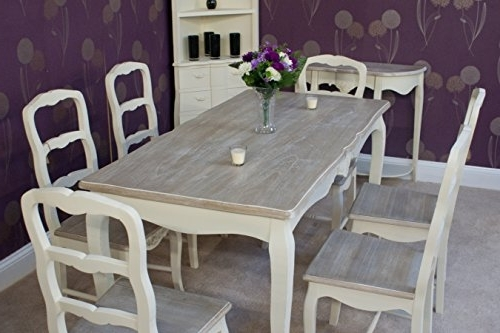 Shabby Chic Dining Chairs Pertaining To Well Known Classic Casamore Devon Rectangular Dining Table And 6 Dining Chairs (Gallery 16 of 20)