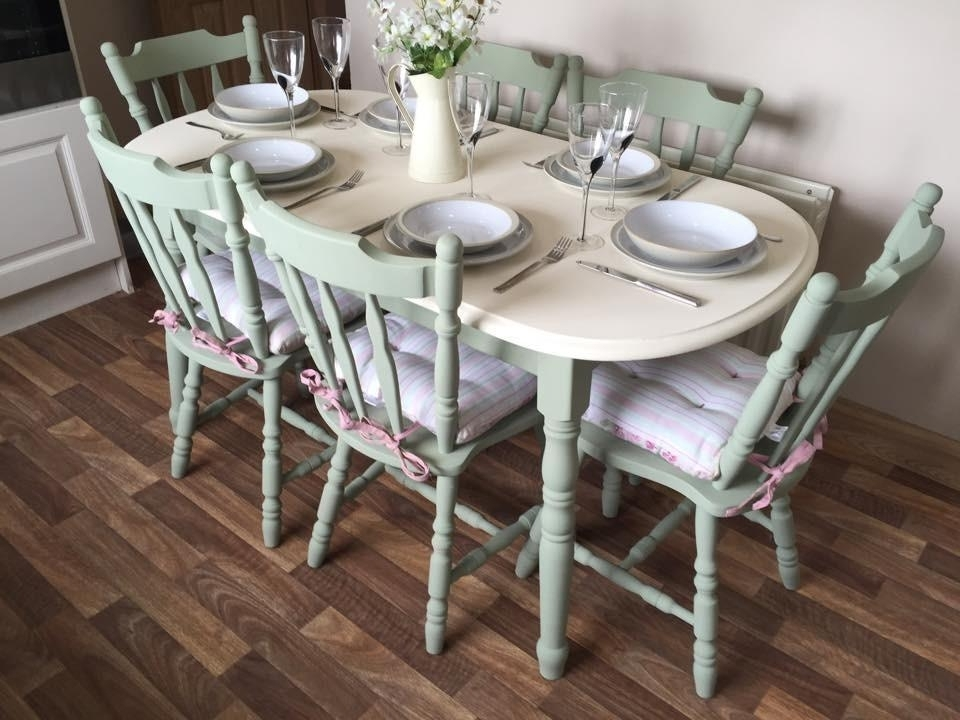 Shabby Chic Dining Table And 6 Chairs Vintage Farm House Chalk Paint Inside Preferred Shabby Chic Cream Dining Tables And Chairs (View 17 of 20)