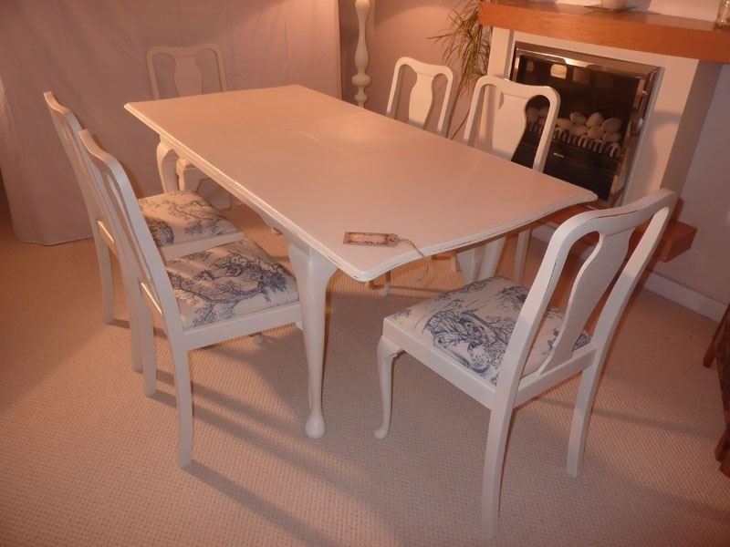 Shabby Chic Extendable Dining Tables Throughout Trendy Shabby Chic Extendable Dining Table With 6 Chairs Painted Vintage (View 5 of 20)