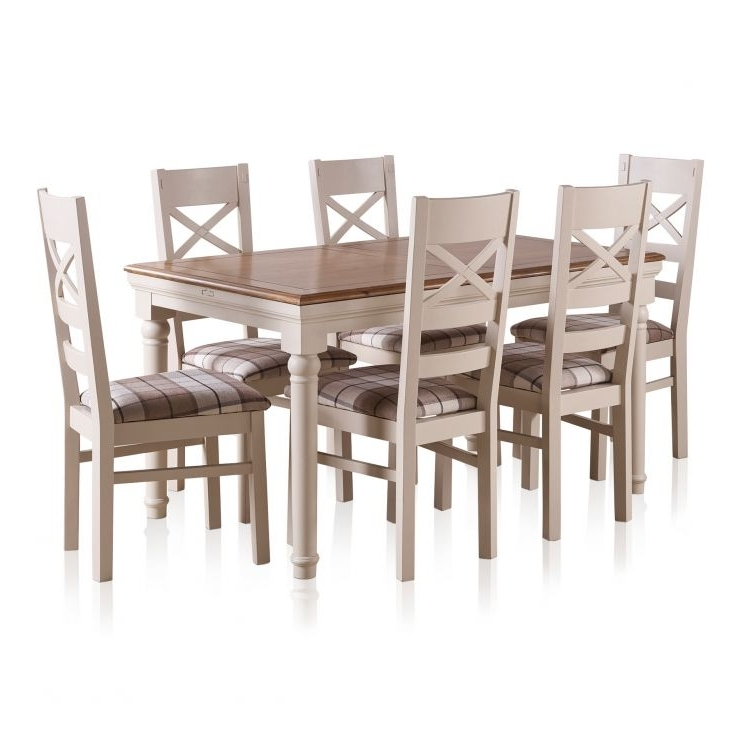 Shay Dining Table Set In Painted Oak + 6 Brown Check Chairs With Latest Oak Dining Set 6 Chairs (Gallery 15 of 20)