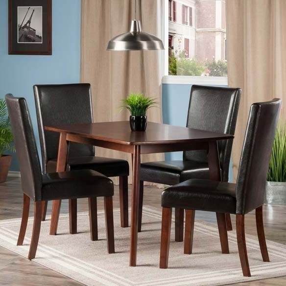 Shaye Walnut 5 Piece Dining Room Set With Upholstered Chairs From With Regard To Widely Used Caden 6 Piece Dining Sets With Upholstered Side Chair (View 15 of 20)