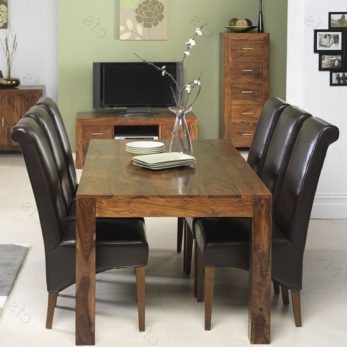 Sheesham Dining Chairs Within Famous Kuba Sheesham Large Dining Set With 6 Brown Leather Chairs (View 16 of 20)