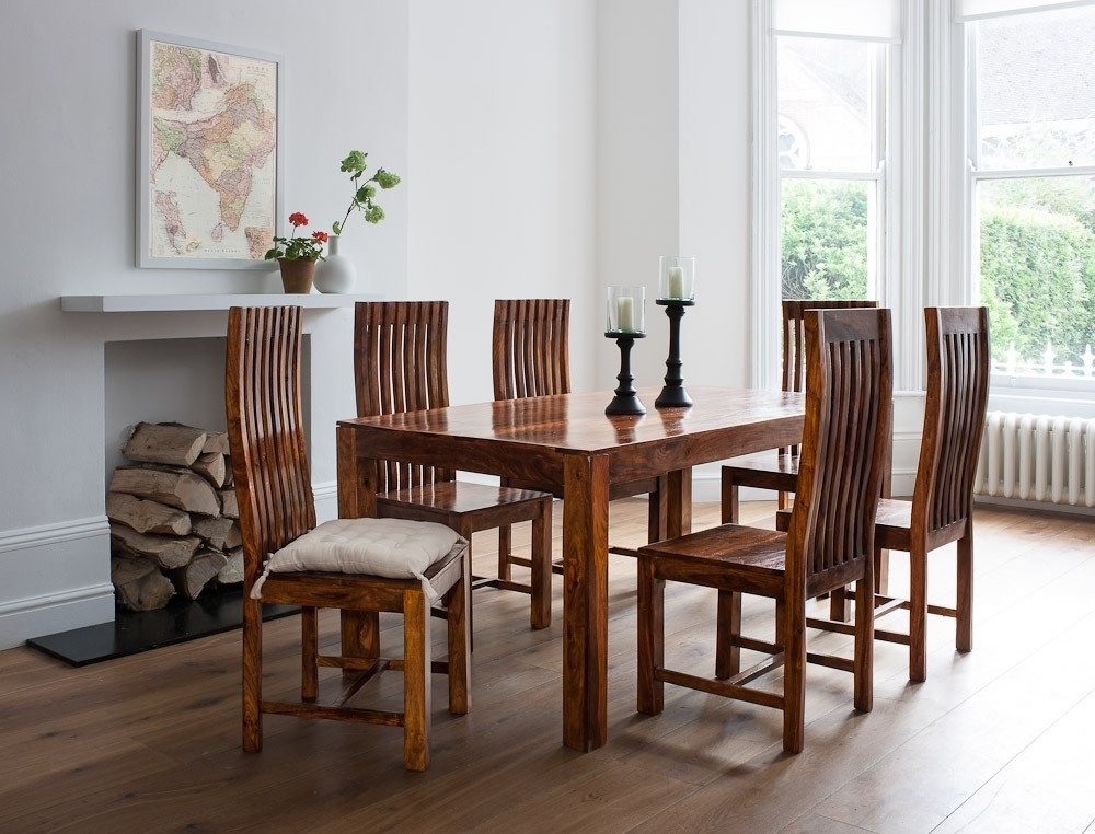 Sheesham Dining Chairs Within Well Known Mandir Sheesham Dining Table (Gallery 2 of 20)