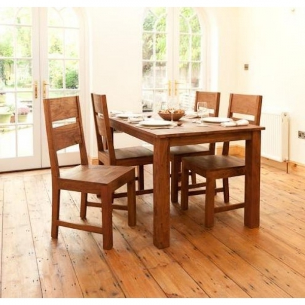 Sheesham Dining Tables And 4 Chairs Within Most Recent Sheesham Wood 4 Seater Dining Set – Sublime Exports (View 15 of 20)