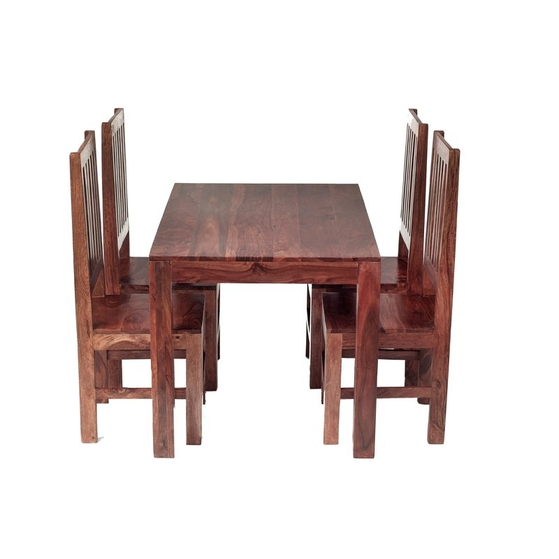 Sheesham Dining Tables With Most Popular Prestington Cube Sheesham Dining Table And 4 Chairs & Reviews (View 12 of 20)