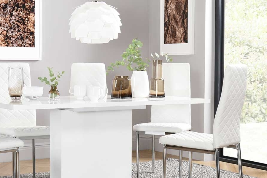 Shiny White Dining Tables Within Latest White Dining Sets – White Dining Table & Chairs (Gallery 11 of 20)