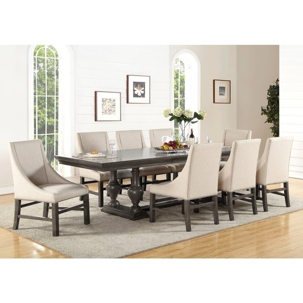 Shop Abbyson Marseilles City Grey 9 Piece Dining Set – Free Shipping Throughout Most Recent Logan 6 Piece Dining Sets (View 16 of 20)