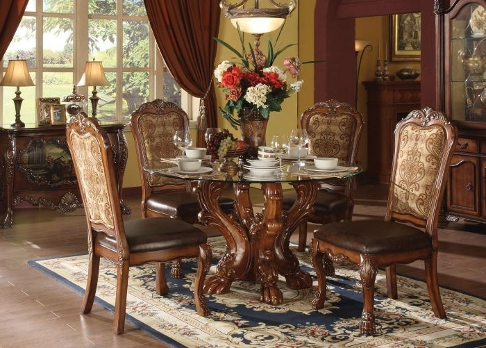 Shop Acme Dresden 5 Pc Round Dining Table Set In Cherry Within Recent Grady 5 Piece Round Dining Sets (View 16 of 20)