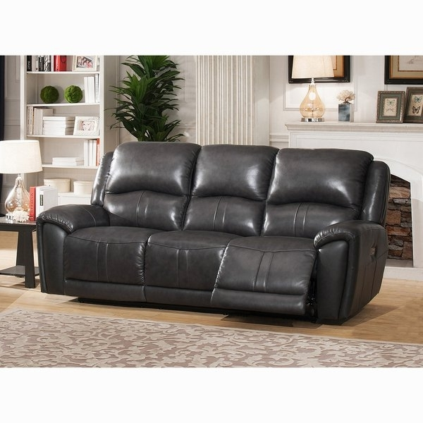 Shop Ari Grey Top Grain Leather Power Reclining Sofa With Power Pertaining To Most Popular Marcus Grey 6 Piece Sectionals With  Power Headrest & Usb (View 13 of 15)