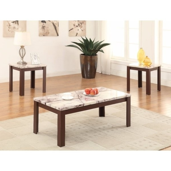 Shop Carly Coffee/end Table Set, Faux Marble & Cherry, Pack Of 3 Pertaining To Well Known Carly Rectangle Dining Tables (View 20 of 20)