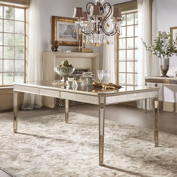 Shop Clara Antique Gold Mirrored Extending Dining Tableinspire Q Pertaining To Trendy Antique Mirror Dining Tables (View 17 of 20)