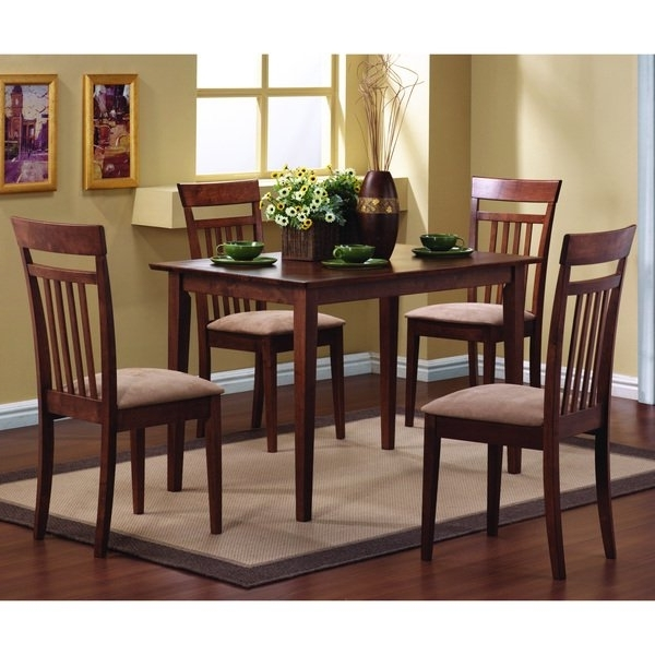 Shop Copper Grove Crychan Warm Walnut 5 Piece Dining Set – Free Pertaining To Preferred Caden 5 Piece Round Dining Sets With Upholstered Side Chairs (Gallery 19 of 20)