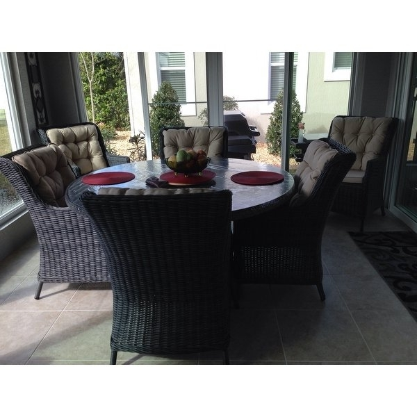 Shop Darlee Valencia Charcoal Wicker 7 Piece Dining Set With Regarding Widely Used Valencia 60 Inch Round Dining Tables (View 16 of 20)