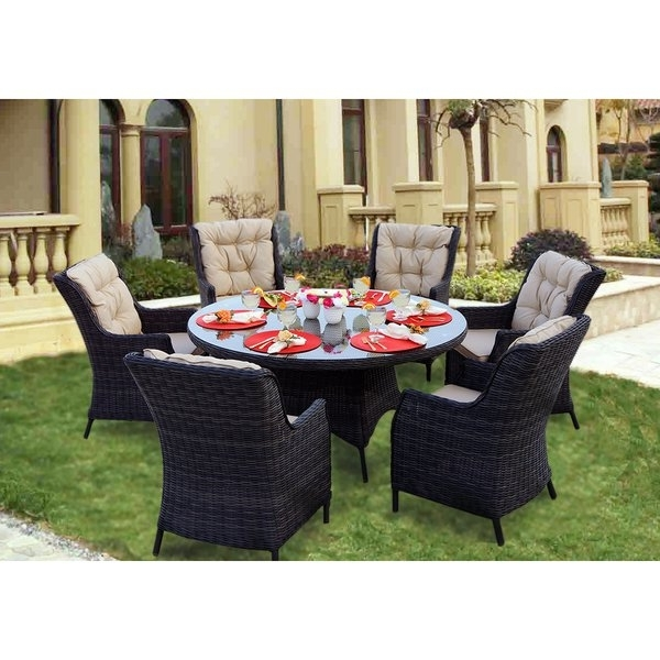 Shop Darlee Valencia Charcoal Wicker 7 Piece Dining Set With With Regard To Recent Valencia 60 Inch Round Dining Tables (View 2 of 20)