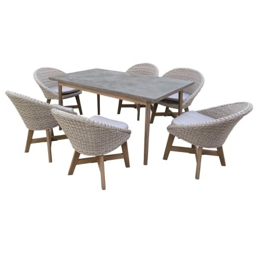 Shop Delacora Df 6071 Bad 7 Piece Eucalyptus Framed Outdoor Dining Pertaining To Most Recent Cora 7 Piece Dining Sets (View 4 of 20)