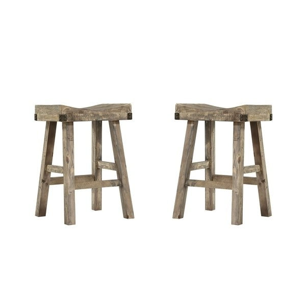 "Shop Emerald Home Valencia Reclaimed Pine 25"" Bar Stool (Set Of 2 For Well Known Valencia 4 Piece Counter Sets With Bench & Counterstool (View 12 of 20)"