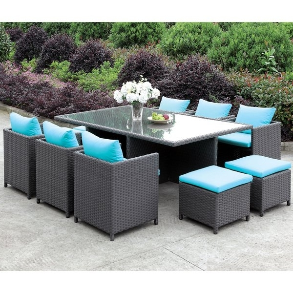 Shop Furniture Of America Lani Contemporary 11 Piece Turquoise/light With Well Known Delfina 7 Piece Dining Sets (View 17 of 20)