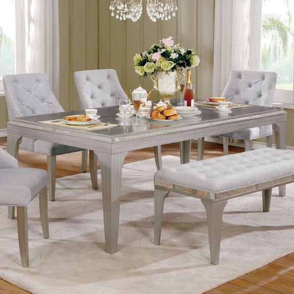 Shop Furniture Of America Selano Contemporary Mirrored Silver 84 With Most Recent Mirrored Dining Tables (View 16 of 20)