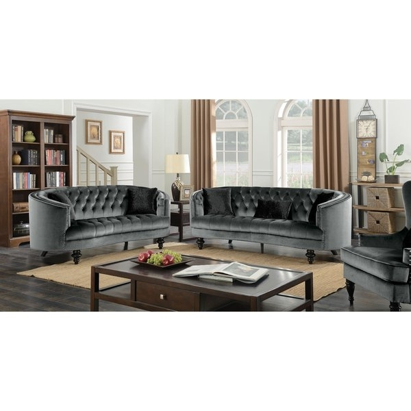 Shop Furniture Of America Sevi Glam 3 Piece Tufted Flannelette Sofa Intended For Preferred Glamour Ii 3 Piece Sectionals (View 15 of 15)
