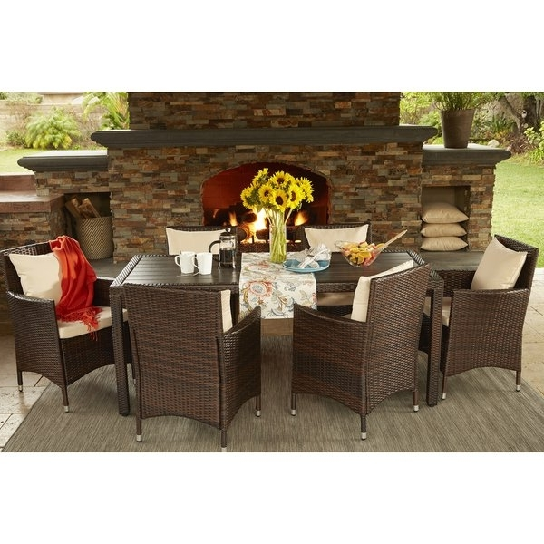 Shop Havenside Home Stillwater Brown Indoor/ Outdoor 7 Piece Intended For Fashionable Crawford 7 Piece Rectangle Dining Sets (View 9 of 20)