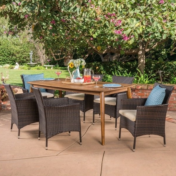 Shop Jaxon Outdoor 7 Piece Multibrown Pe Wicker Dining Set With Pertaining To Current Jaxon Grey 5 Piece Round Extension Dining Sets With Upholstered Chairs (View 18 of 20)