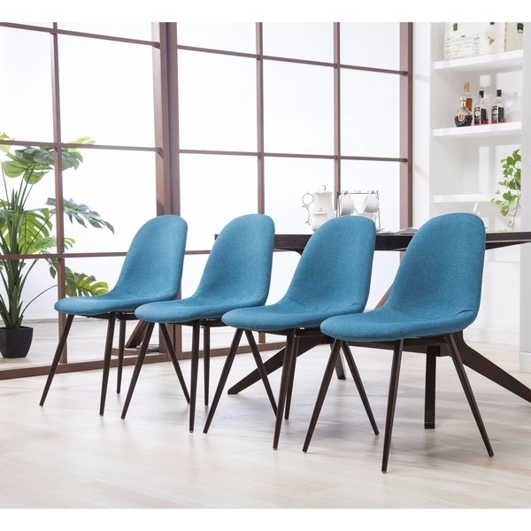 Shop Lassan Modern Contemporary Blue Fabric Dining Chairs, Set Of 4 Within Well Known Caden 6 Piece Dining Sets With Upholstered Side Chair (View 16 of 20)