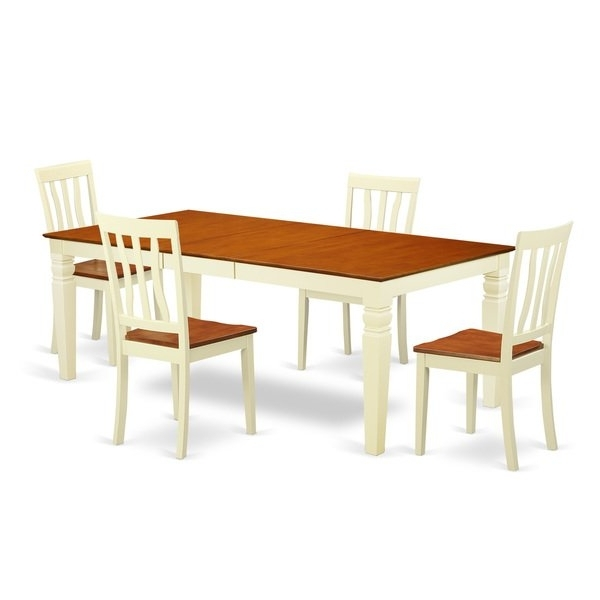 Shop Logan Extendable Buttermilk And Cherry Dining Table Set (5 9 Regarding 2017 Logan Dining Tables (View 8 of 20)