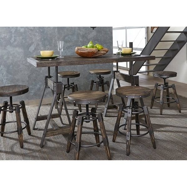 Shop Pineville Charcoal Saw Mark Distressed Adjustable 5 Piece Inside Most Popular Grady 5 Piece Round Dining Sets (View 17 of 20)