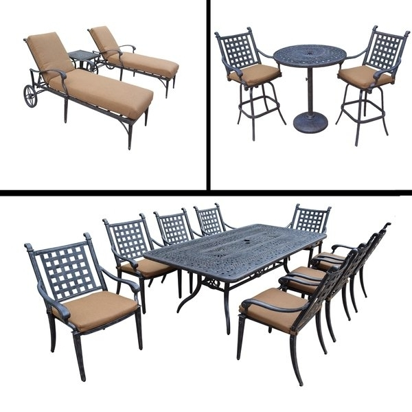 Shop Sunbrella Cushioned Set Includes 3 Pc Bar Set, 9 Pc Dining Set Within Current Grady 5 Piece Round Dining Sets (View 18 of 20)