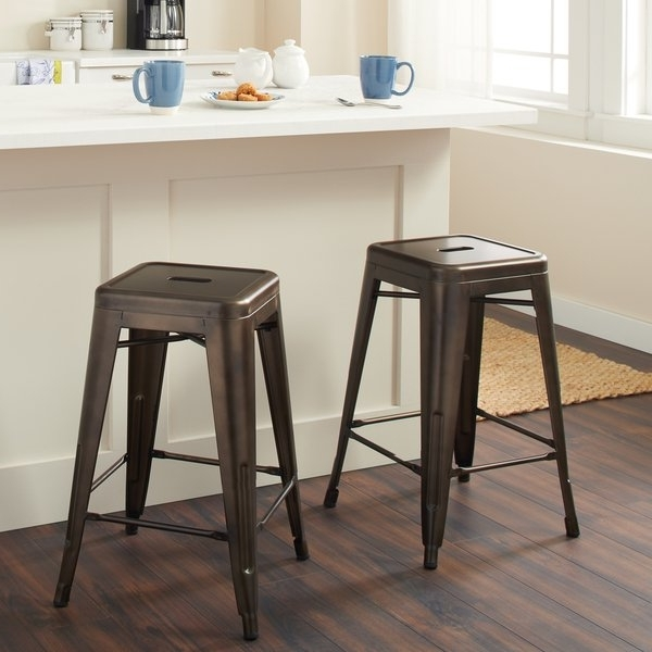 Shop Tabouret 24 Inch Vintage Patina Backless Counter Stool (Set Of Inside Latest Laurent 7 Piece Counter Sets With Wood Counterstools (Gallery 2 of 20)
