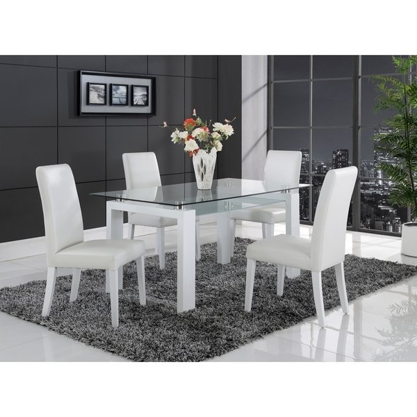 Shop White Solid Wood Glass Top Dining Table – Free Shipping Today Throughout Well Known Glass Dining Tables With Wooden Legs (Gallery 14 of 20)