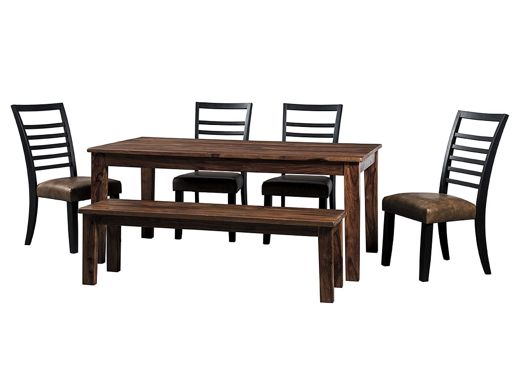 Signature Home Furniture Manishore Brown Rectangular Dining Room With Regard To Well Known Craftsman 7 Piece Rectangle Extension Dining Sets With Uph Side Chairs (View 17 of 20)