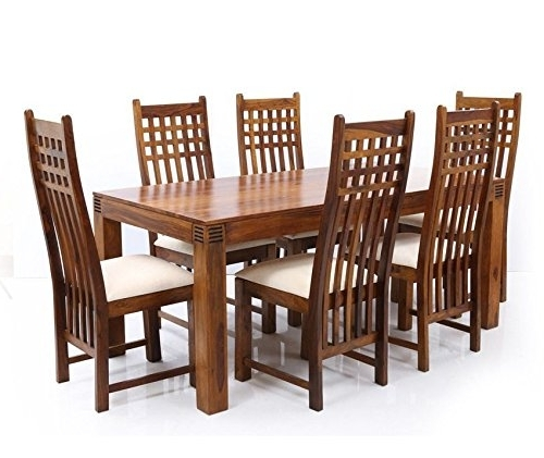 Six Seater Dining Tables Regarding Most Recently Released Six Seater Dining Table Set In Sheesham Wood (Brown) – Pharneechar (View 18 of 20)