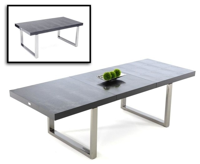 Skyline Black Crocodile Textured Lacquer Extendable Dining Table Intended For Most Recent Black Extendable Dining Tables And Chairs (View 18 of 20)