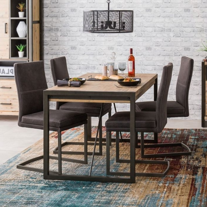 Small 4 Seater Dining Tables In Most Popular Metro Industrial Small 4 Seater Dining Table With 4 Chair Set (Gallery 8 of 20)