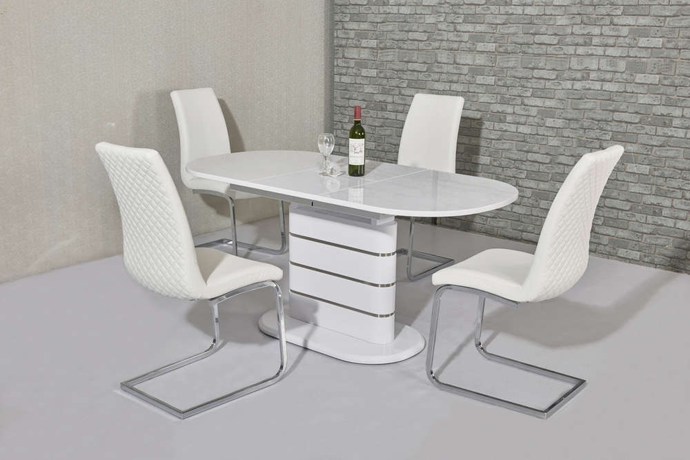 Small Oval White Gloss Dining Table & 4 White Chairs – Homegenies Pertaining To Well Known Oval White High Gloss Dining Tables (View 19 of 20)