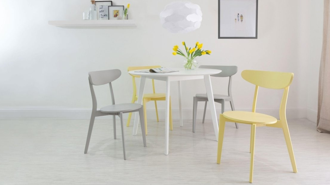 Small White Dining Tables Inside Most Popular Small Round Kitchen Table 4 Seater White Dining And Modern Chairs (View 16 of 20)