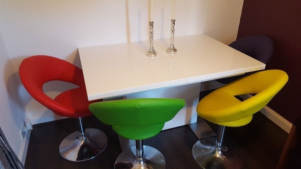 Smartie White Gloss Extending Dining Table & 4 Multi Coloured Swivel With Regard To Well Known Smartie Dining Tables And Chairs (View 2 of 20)