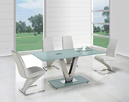 Smoked Glass Dining Tables And Chairs Inside Latest V Frosted Glass Dining Table + 4 G613 Dining Chairs: Amazon.co (View 16 of 20)