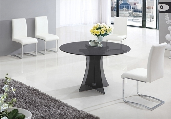 Smoked Glass Dining Tables And Chairs Pertaining To Newest Dining Table In Smoked Round Glass And 6 White Chairs  Homegenies (View 17 of 20)