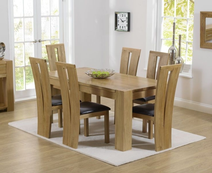 Solid Oak 180Cm Dining Table With 6 Dining Chairs (Thames / Montreal Regarding Well Liked Chunky Solid Oak Dining Tables And 6 Chairs (View 18 of 20)