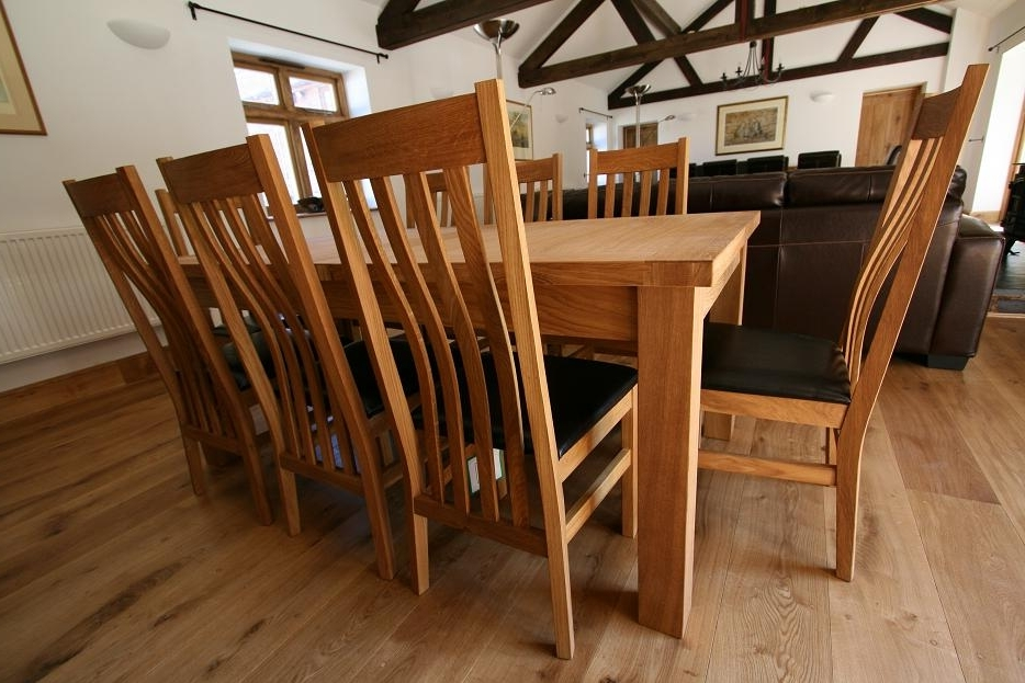 Solid Oak Dining Tables And 8 Chairs With Regard To Most Popular Tallinn Oak Dining Sets (View 17 of 20)