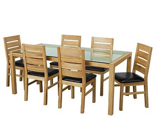 Solid Oak Glass Top Dining Table Set With Six Chairs 9179 In Favorite Oak And Glass Dining Tables Sets (View 6 of 20)