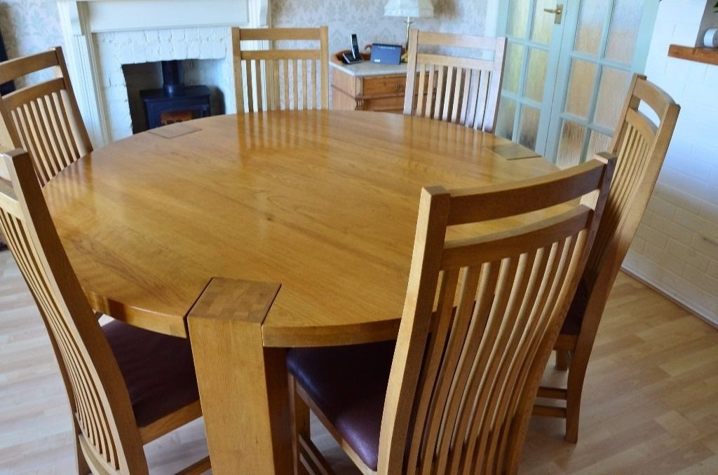 Solid Oak Large Round Dining Table And 6 Chairs (Gallery 4 of 20)