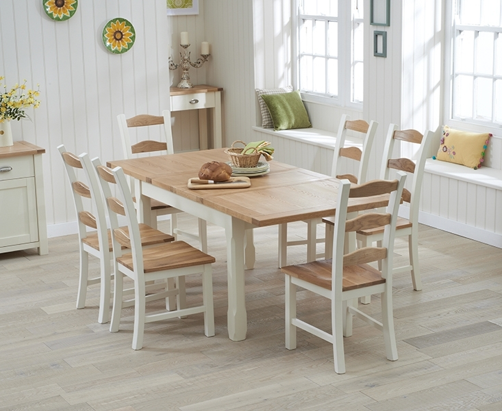 Somerset 130cm Oak And Cream Extending Dining Table With Chairs Within Most Up To Date Extendable Dining Room Tables And Chairs (Gallery 13 of 20)
