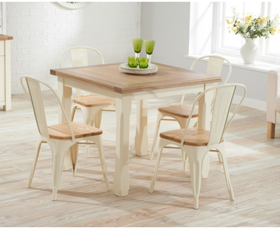 Somerset 90cm Flip Top Oak And Cream Dining Table With Tolix Regarding 2017 Flip Top Oak Dining Tables (View 17 of 20)
