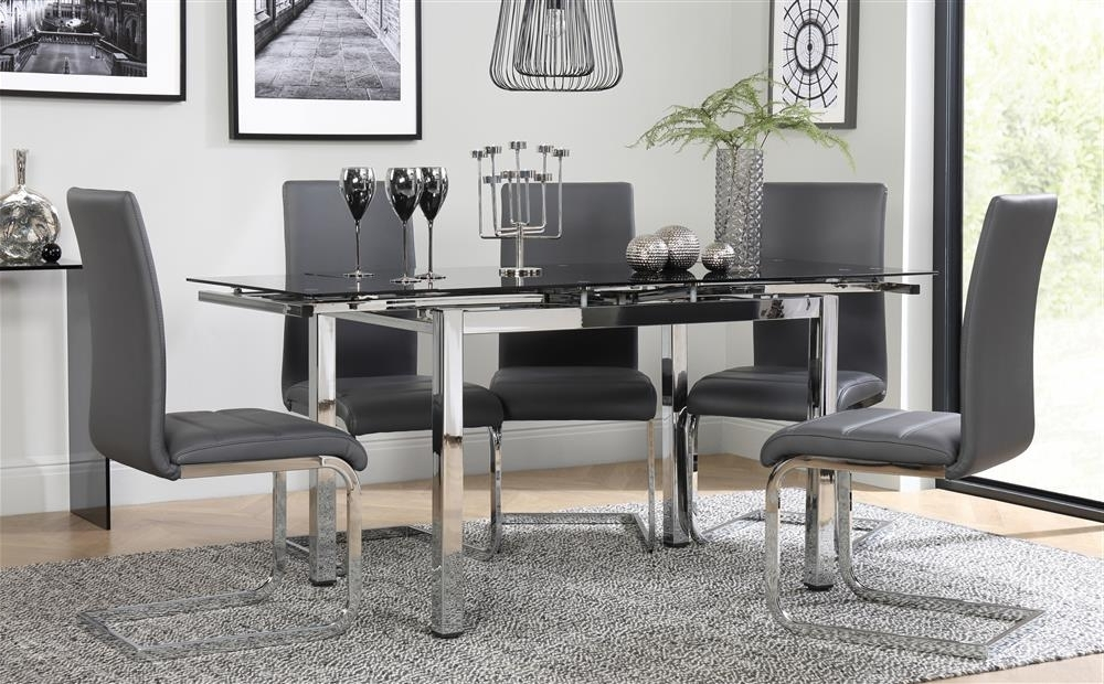 Space Chrome & Black Glass Extending Dining Table With 6 Perth Grey Throughout Most Recent Perth Glass Dining Tables (Gallery 10 of 20)