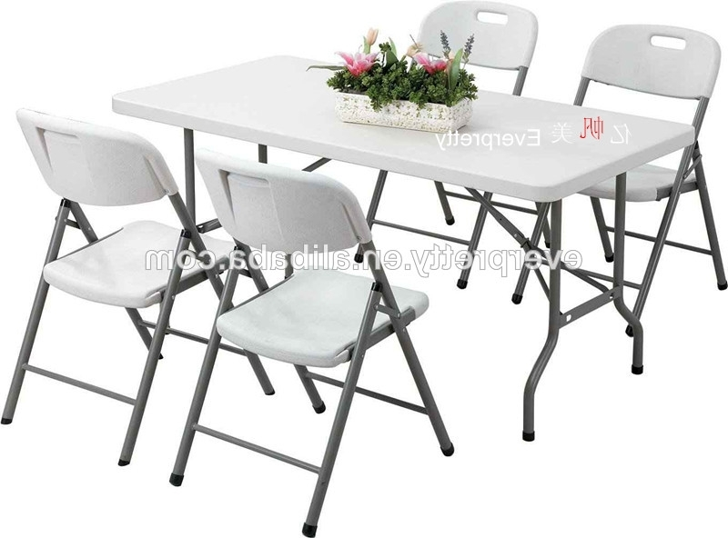 Space Saving Dining Table And Chairs /6ft Folding Dining Table And Regarding Popular Folding Dining Table And Chairs Sets (View 16 of 20)