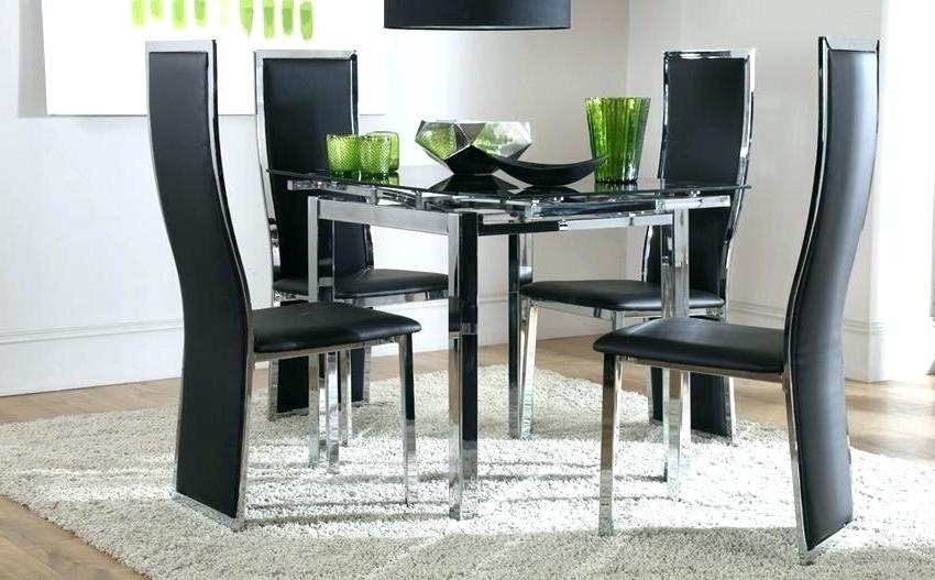 Square Black Glass Dining Tables Inside Most Popular Square Extending Dining Table And Chairs Glass Dining Room Sets For (Gallery 6 of 20)