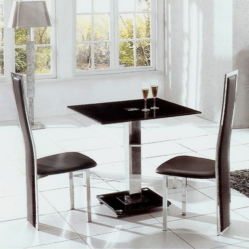 Square Black Glass Dining Tables Intended For Trendy Ice Glass Dining Table Square With 4 Dining Chairs In Black (Gallery 16 of 20)